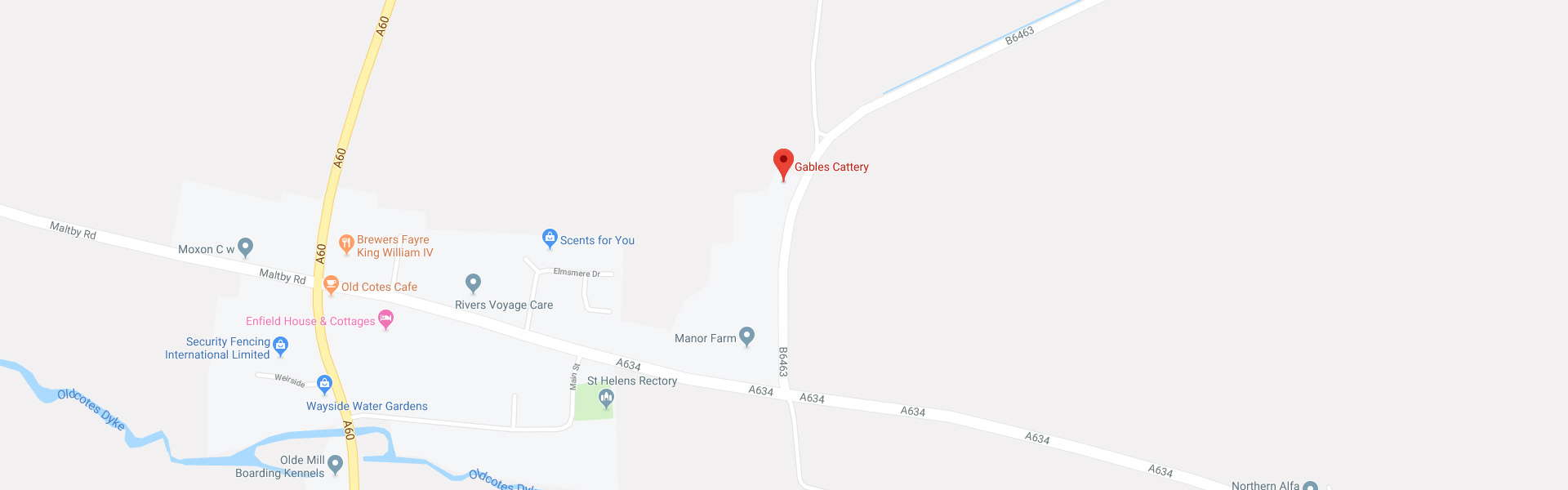 Contact and Location Map for Gables Cattery in Worksop